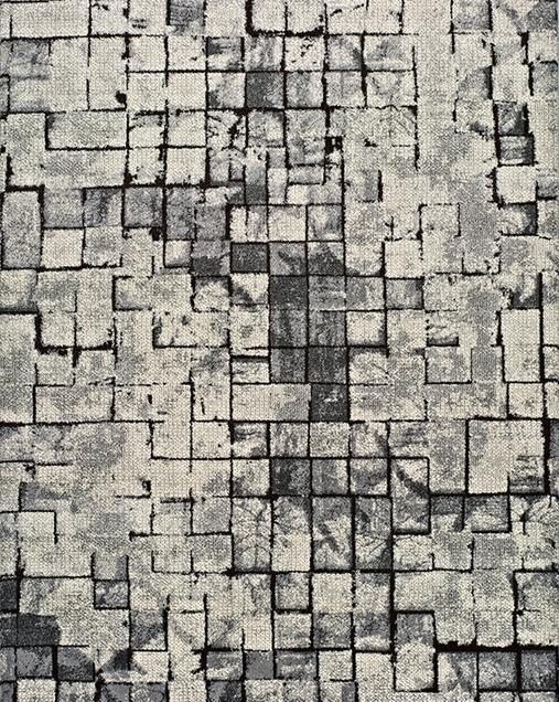 Alfombra Geométrica de Arte Abstracto Adra 12168 Gris
