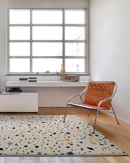 Alfombra Geométrica de inspiración Hidráulica y Vintage Adra 12200 Blanco