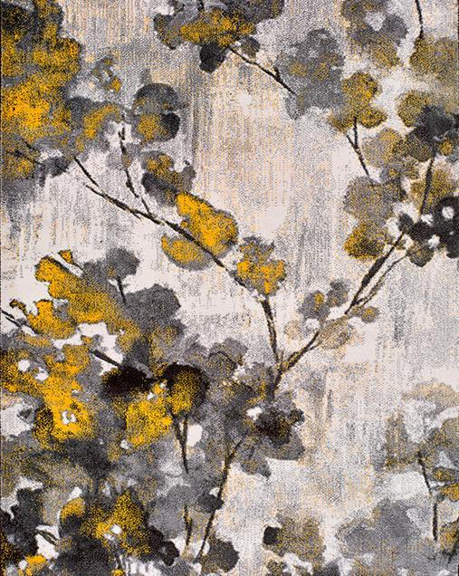 Alfombra Vintage con toques Florales Bukit 16516 Mostaza