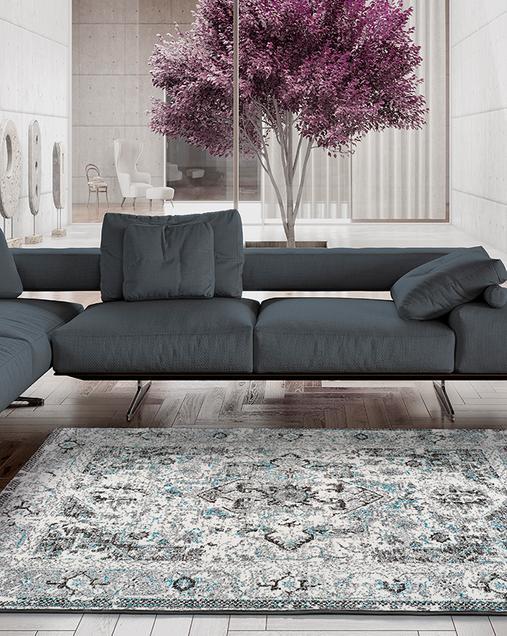 Alfombra Vintage con toques Florales Bukit 16545 Azul