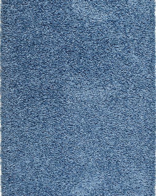 Alfombra Shaggy de pelo largo en color liso Catay 8507 Azul