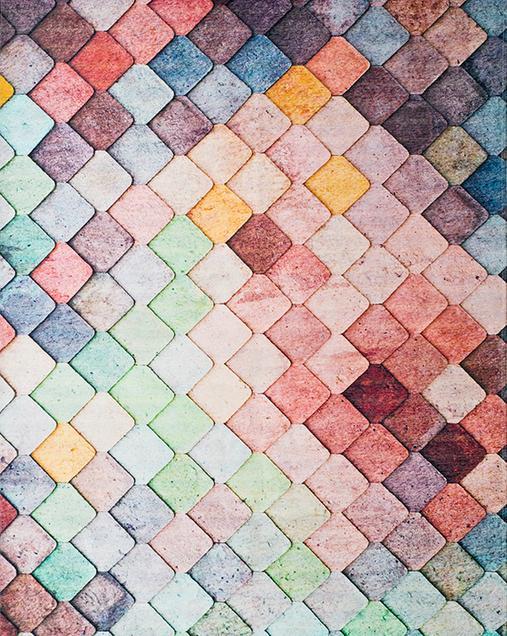 Alfombra Geométrica con motivo Hidráulicos Chenille 306 Multi