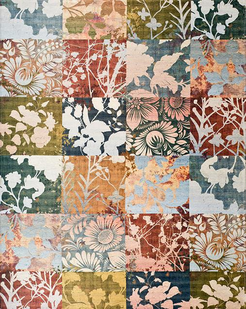 Alfombra Patchwork-Tradicional con acentos Florales Chenille 3566 Multi