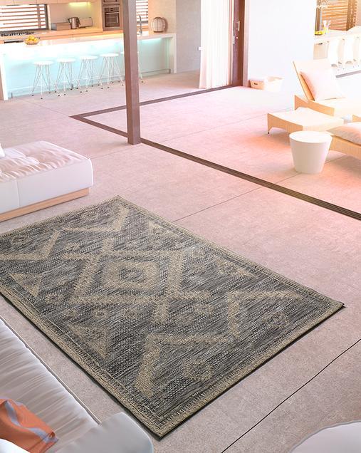 Alfombra Étnica Indoor-Outdoor Devi 29508 Gris