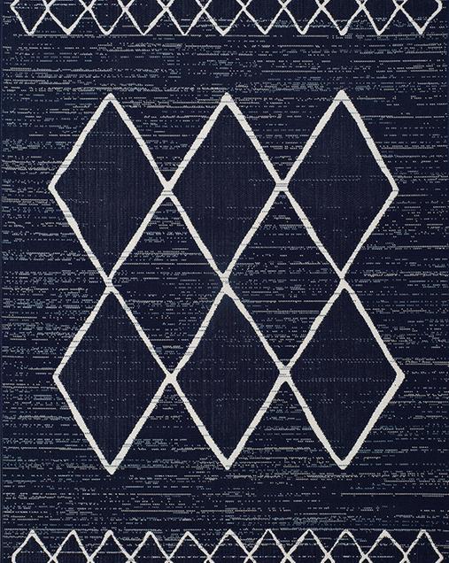 Alfombra Étnica con motivos geométricos Elba 47272 Azul