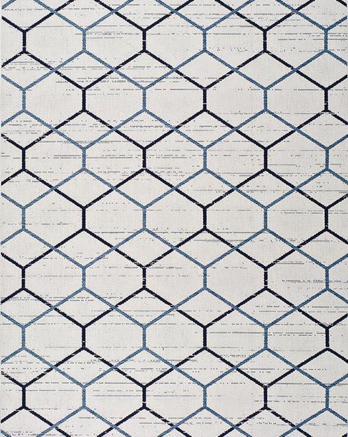 Alfombra Étnica con motivos geométricos Elba 47273 Blanco