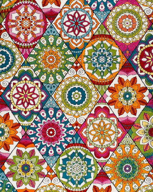 Alfombra Étnica con toques Florales Happy 22921 Multi