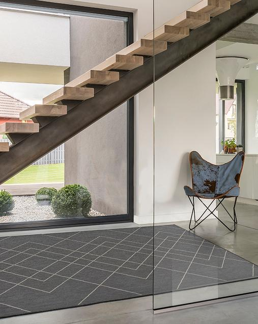 Alfombra Geométrica Indoor-Outdoor Hibis 9750 Antracita