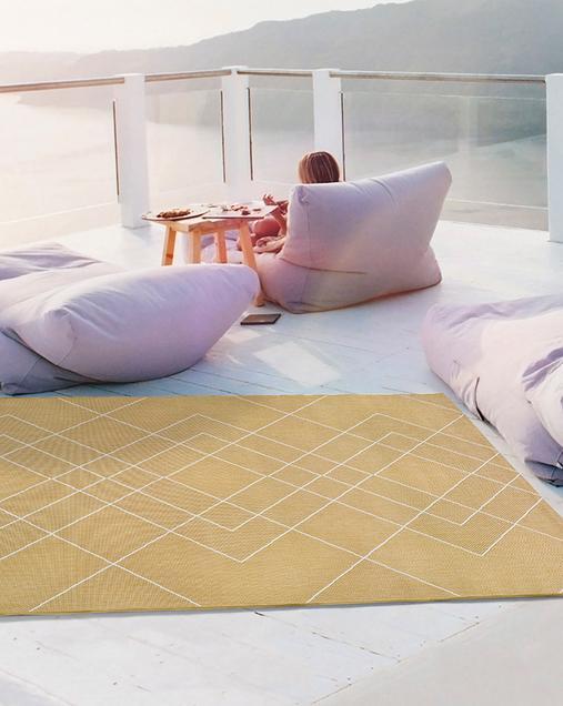Alfombra Geométrica Indoor-Outdoor Hibis 9750 mostaza