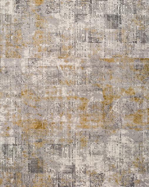 Alfombra Vintage con toques de Arte Abstracto Kerati 23192 Mostaza