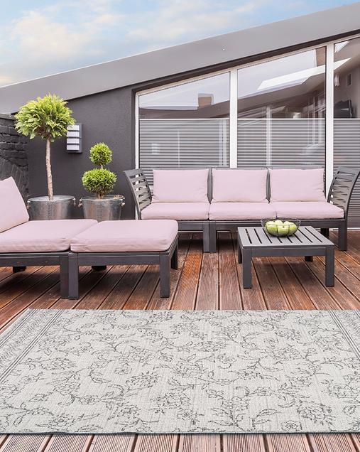 Alfombra Floral Indoor-Outdoor Weave 100 Gris