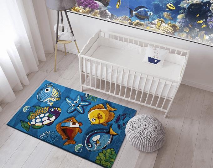 Alfombra de peces para habitaciones infantiles