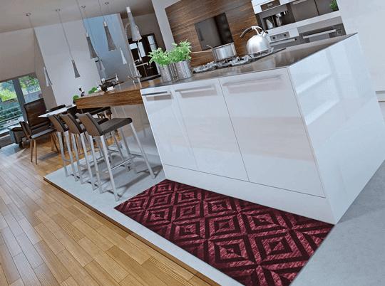 Alfombra de cocina con motivos geométricos