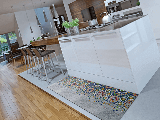 Alfombra de cocina original con mosaico en degradado